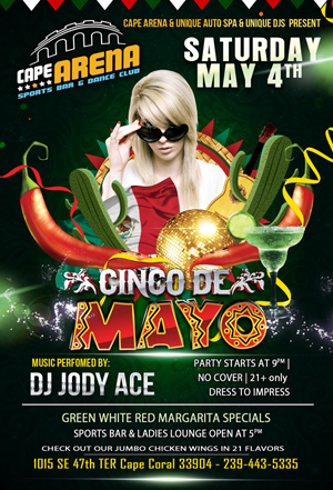 cinco de majo Cape Arena Flyer