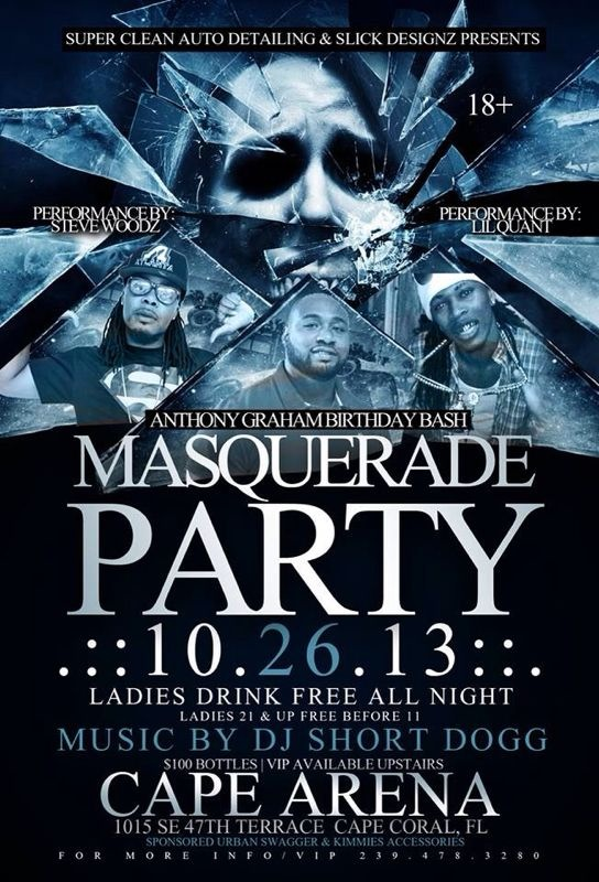 Saturday Masquerade Party Cape Arena Flyer
